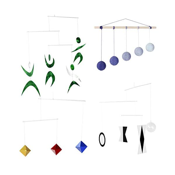 Handmade Montessori mbolies 4set Octahedron mbolie Munari Mobile Gobbi Mobile Dancers Mobile Help Shape and Color Recognition(4 Mobiles with Blue Gobbi)