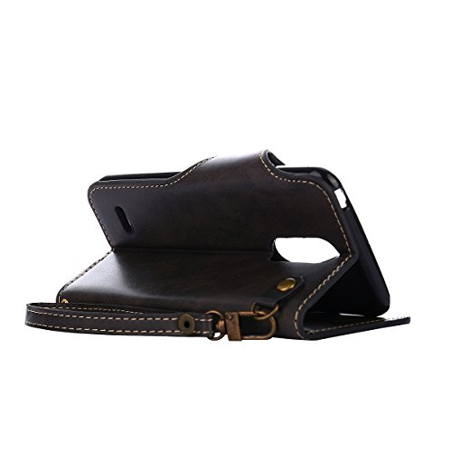 MEIRISHUN Leather Wallet Case Cover Carcasa Funda con Ranura de Tarjeta Cierre Magnético y función de soporte para LG K8(2017)[Eurasian version] - Caqui Negro