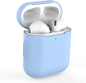 Case for AirPods Case Airpod Cover Skins, KEENEST Silicone Case for AirPods Waterproof Case Shock Proof Protective Resistant Cover for Apple AirPods 1&2, iPhone X/XS/XR/X MAX7/7P/8/8P (Sky Blue)