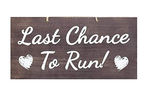 JennyGems Wedding Signs - Last Chance to Run - Ring Bearer Signs for Wedding - Funny Wedding Sign for Ring Bearer to Carry - Rustic Wedding Decor - Flower Girl Signs - Here Comes The Bride Signs ()