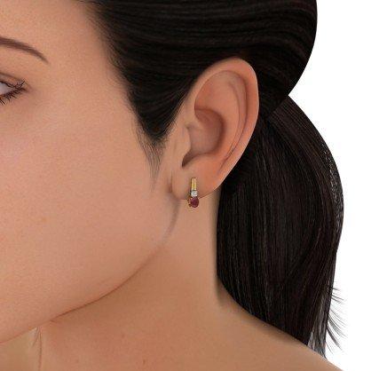 Or jaune 14K 0,07ct tw White-diamond (IJ | SI) et rubis Boucles d'oreilles créoles