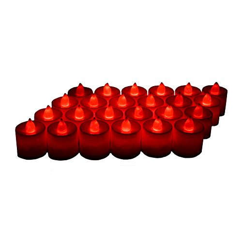 24 Pack LED Tea lights Candles - Flickering Flameless Tealight Candle - Battery Operated Electronic Fake Candles - Decoration for Wedding, Party, Dating and Festival Celebration (Red) -
