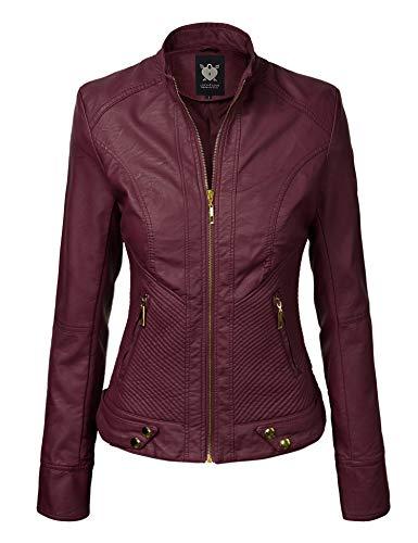 Lock and Love LL WJC747 Womens Dressy Vegan Leather Biker Jacket XXL ()