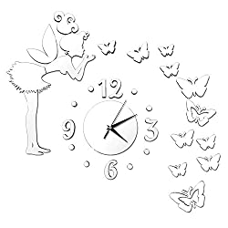 Happy Hours - Creative Wall Clocks / Home DIY Decoration Watch / Fairy Butterfly Living Room Mirror 3D Wall Design(Silver)