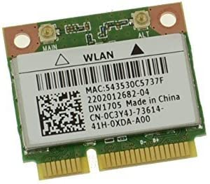 Dell Wireless DW1705 WLAN WiFi 802.11 b/g/n + Bluetooth 4.0 Half-Height Mini-PCI Express Card - C3Y4J