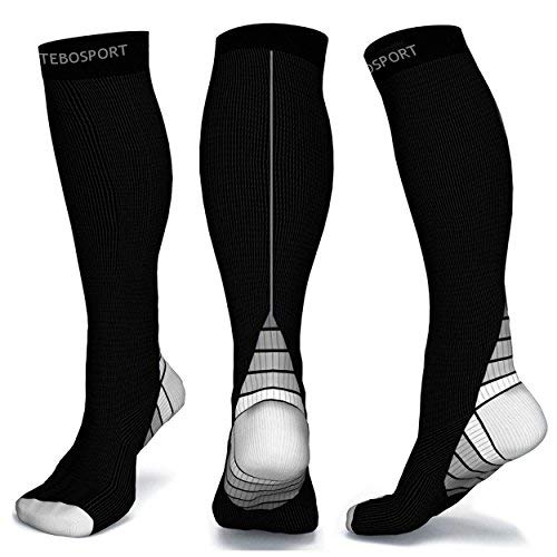 Mid Calf Muscle Leg Support Long Sleeve 20-30 mmHg - Running Crossfit Football Basketball Travel Gym Athletic Teds Post Partum - Thigh Opaque Knee High Stockings Compression Socks for Men -