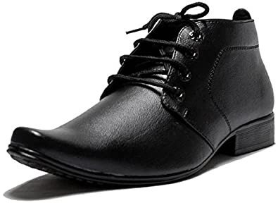 258ba3e9b11c2 OORA Men's Faux Leather Black Color Ankle Length Shoes Office Wear ...