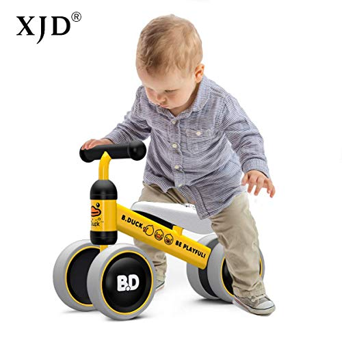 - XJD Baby Balance Bikes Bicycle Children Walker Toddler Bike 10-24 Months Toys for 1 Year Old No Pedal Infant 4 Wheels First Birthday Gift Bike (Yellow Duck)