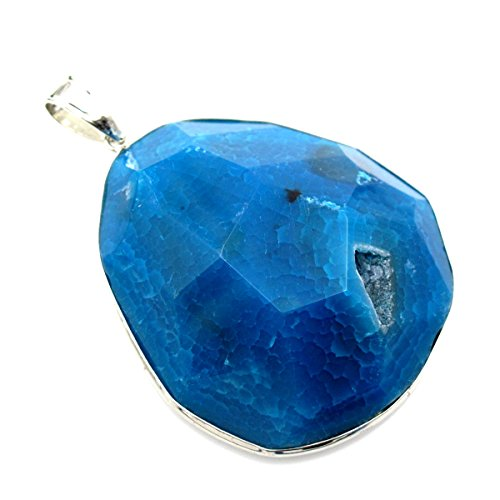 - BRCbeads Nice Agate Pendant Natural Druzy Pendant Irregular Faceted Round Shape Enhance Blue Color with Silver Bezel Necklace Charms One Hook for Jewelry Marking