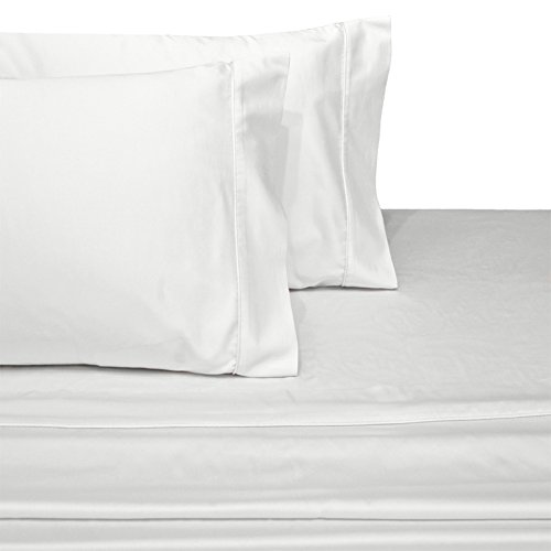 Deluxe and Super Soft Brushed Microfiber Attached Waterbed Sheet Set with Pole Attachment, 4 Piece California King Size, White -