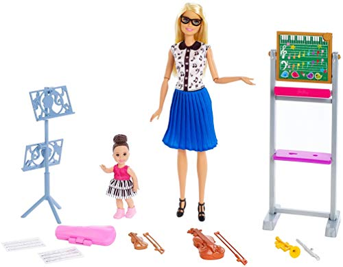 Barbie FXP18 Music Teacher Doll, Blonde and Playset with Flipping Chalkboard, Student Small Doll and 4 Musical…