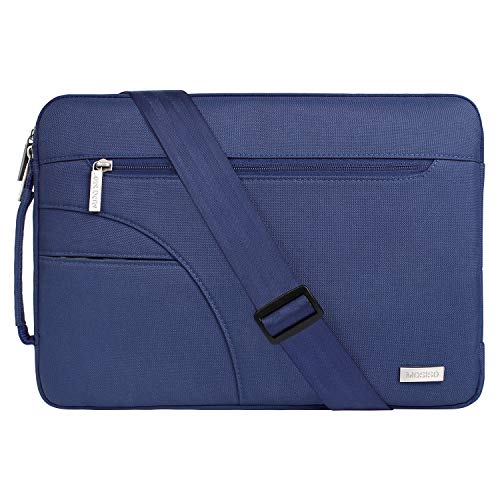 MOSISO Laptop Shoulder Bag Compatible 13-13.3 Inch MacBook Pro, MacBook Air, Ultrabook Netbook Tablet, Polyester Ultraportable Protective Briefcase Carrying Handbag Sleeve Case Cover, Navy Blue