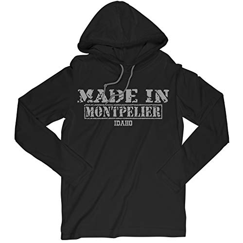 Retro Vintage Style Made in Idaho, Montpelier Hometown Long Sleeve Hooded T-Shirt