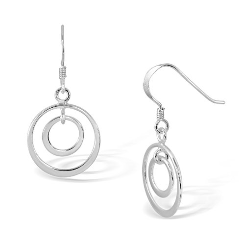WithLoveSilver 925 Sterling Silver Tiny Double Circle Hoop Loops Dangle Earrings (Charm Double Hoop)