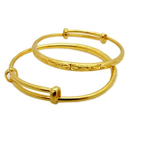 Skyjewelry 2pcs Expandable Bracelet Solid 24k Yellow Gold Plated Carved Star Children's Bangle Gift