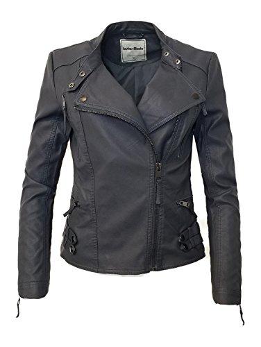 Instar Mode Women's Ultimate Moto Biker Faux Leather Jacket (JK31612A Charcoal, Medium)