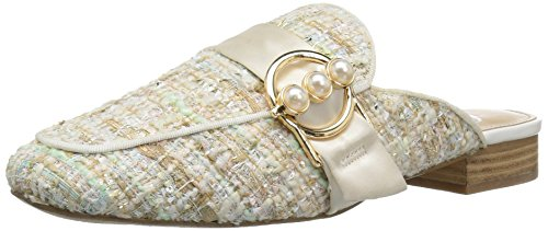- The Fix Women's Dafnee Loafer Slide with Pearl Buckle, Bright White/Multi Tweed, 7 B US
