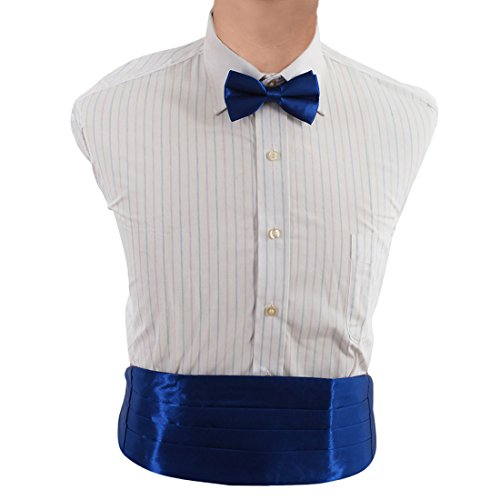 DIC1E01J Royal Blue Plain Microfiber Popular Cummerbund Wear Accessories Cummerbund Matching Bow Tie By Dan Smith Royal Blue Cummerbund