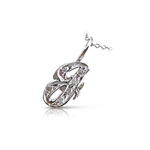 Milano Jewelers .06CT ROUND DIAMOND 14KT WHITE GOLD 3D CLASSIC SCRIPT g INITIAL PENDANT #15920 - 0.06 Ct Initial Pendant