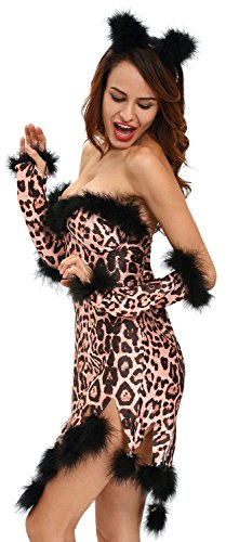IF FEEL Womens Sexy Halloween Masquerade Cosplay Animal Costume (M, LC8994-20) (Adult Care Bears Cheer Bear Costume)