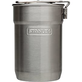 Stanley Camp 24oz. Cook Set 1 Stainless steel, single-wall cooking pot with vented lid and two-position handle. Two 10oz. insulated plastic cups. Dishwasher safe.