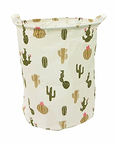 Songsongstore 19.7 Large Sized Waterproof Foldable Canvas Laundry Hamper Bucket with Handles for Storage Bin,Kids Room,Home Organizer,Nursery Storage,Baby Hamperwith Stylish Cactus Design(Green)