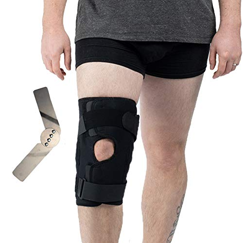 Hinged Knee Brace, Open Patella Wraparound Knee Stabilizer Support for Prevent Sport Trauma, Hyperextension, Meniscus Tears, Ligament Injuries Sprains and Reduce Pain - Large ()