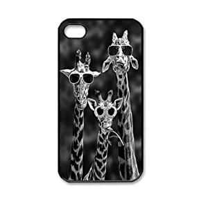 Cool Giraffe Family With Sunglasses Cute Animal Pattern Hard Back Skin Snap on Case Cover for Apple iPhone 4 4S