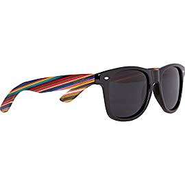 Woodies Rainbow Wood Sunglasses with Black Polarized Lenses 7 <p>Woodies Rainbow Wood Sunglasses with black, polarized lens offer a combination of 100% Rainbow Wood arms that support a plastic frame. The lightweight wood offers a comfortable fit that is durable and sturdy at the same time. Our unique stainless-steel, double-spring hinges are sturdy and designed to keep their shape year after year. The lenses are specially designed so that they are both dark and polarized, offering 100% UVA/UVB protection even in intense lighting conditions. These glasses are stylish, durable, and natural. Each pair includes a durable black carrying case, a microfiber lens cleaning cloth and a wood guitar pick! 30-Day Money back Guarantee. Espanol: Lentes de Sol para Hombre y Mujeres, Gafas Handmade from Rainbow Wood (50% Lighter than Normal Sunglasses) Includes FREE Carrying Case, Lens Cloth, and Wood Guitar Pick Polarized Lenses Provide 100% UVA/UVB Protection 30-Day Money Back Guarantee</p>