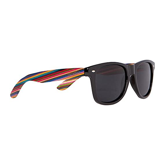 Woodies Rainbow Wood Sunglasses with Black Polarized Lenses 1 Handmade from Rainbow Wood (50% Lighter than Ray-Bans) Includes FREE Carrying Case, Lens Cloth, and Wood Guitar Pick Polarized Lenses Provide 100% UVA/UVB Protection