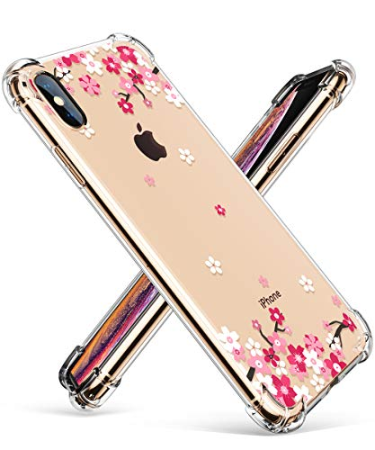 GVIEWIN Compatible for iPhone Xs/X Case, Clear Flower Pattern Design Soft & Flexible TPU Ultra-Thin Shockproof Transparent Floral Cover, Cases iPhone X/iPhone 10 (Peach Blossom/Pink) ()