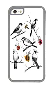 Apple Iphone 5C Case,WENJORS Cool BIRDS FLOWERS Soft Case Protective Shell Cell Phone Cover For Apple Iphone 5C - TPU Transparent