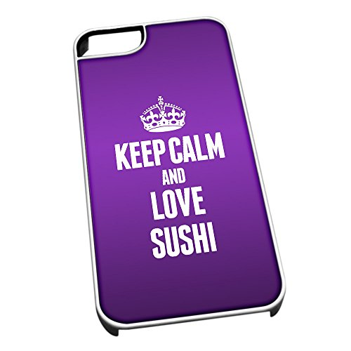 Bianco cover per iPhone 5/5S 1575 viola Keep Calm and Love sushi