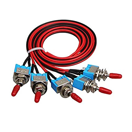 Awe Inspiring Amazon Com 5X Spst Toggle Switch Wires On Off Metal Mini Small Wiring Cloud Hisonuggs Outletorg