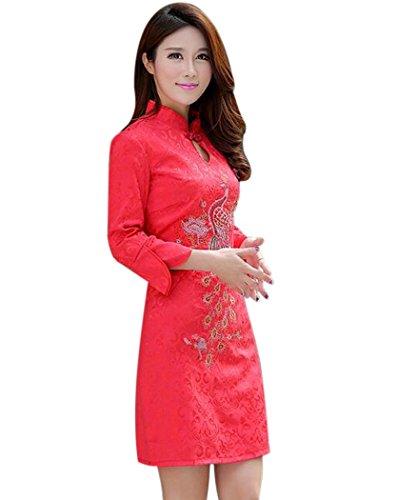 Femme Manches Aro Lora 3/4 Qipao Phénix Broderie Robe Cheongsam Rouge