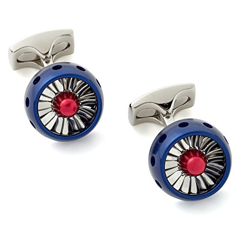 - Deakin and Francis RAF Sterling Silver Jet Turbine Engine Cufflinks - Blue, Silver and Red