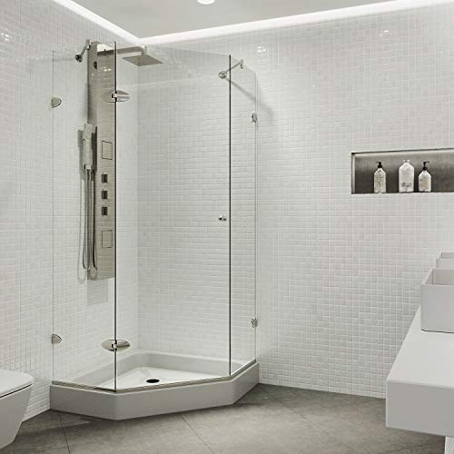 "VIGO VG6061BNCL42W Verona 42"" x 42"" inch Clear Glass Corner Frameless Neo-Angle Shower Enclosure, Hinged Shower Door with Magnalock Technology, Non-Slip White Base, and 304 Stainless-Steel Shower Hardware in Brushed Nickel Finish"