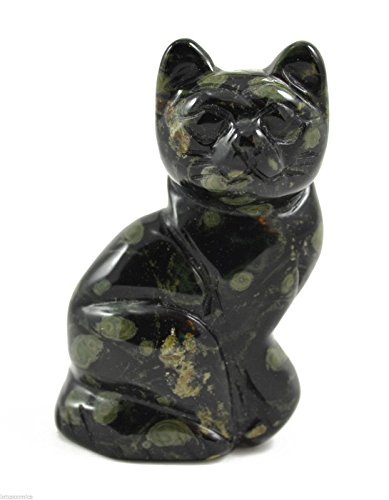 Precious Carved Kambaba Jasper Gemstone Sitting Cat Adorable For The Cat Lover