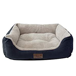 Its Bed Time - Premium Dog Bed - Raised Sides For Comfortable Sleep Positions - Non-Skid Bottom - Water Resistant Cover - Luxurious Plush Bedding - Machine Washable - Available In Small/Medium/Large (Small, Blue)