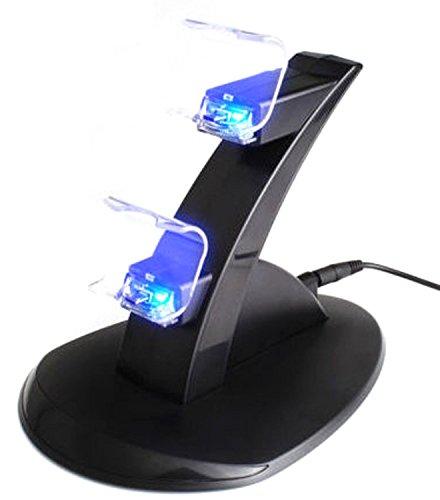 NuoYa005 USB LED Lade Dock Station stehen für Dual Playstation 4 PS4 Spiel Regler (Fügen Sie eine Radfahren Reflective Band als Geschenk)