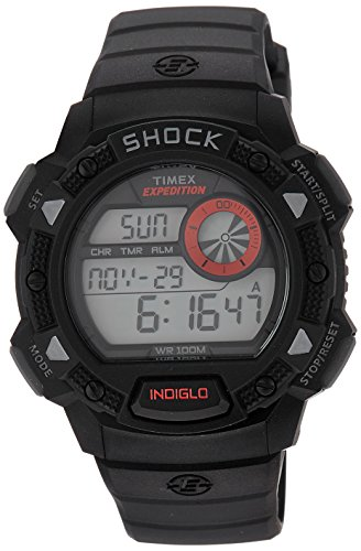 Timex Men's T49977 Expedition Base Shock Black/Red Resin Watch -