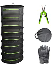 YOUSHENGER 8 Layer 60cm Herb Drying Rack Net Black Mesh Hanging Drying net with Green Zipper and Garden Gloves Plant Drying Rack net with Pruning Scissors for Hydroponic Plant Herb and Bud