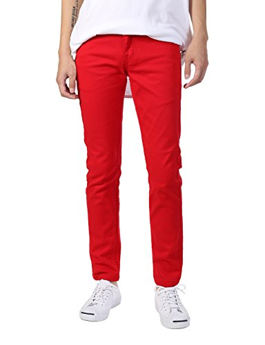 - JD Apparel Men's Basic Casual Colored Skinny Fit Twill Pants 30Wx30L Red