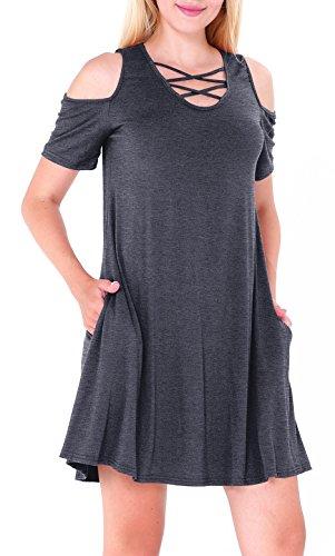 Women's V Neck Front Criss Cross Simple Plain Swing Tunic Dress Dark Grey XL