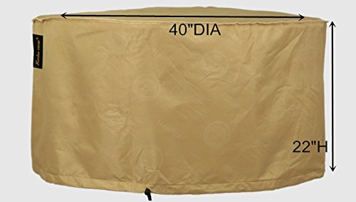 Hentex Outdoor Round Fire Pit Cover 5303,Breathable 3 Layer Eco Durable Waterproof,Velvet Liner Tight Fit by 2 Stopper Drawstring & Buckles, Patio Garden Fire Table Cover,40'' DIAx22 H,Khaki by Hentex