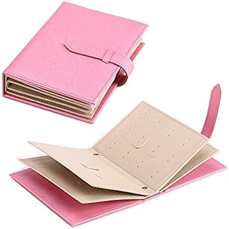 ジュエリーケース ピアスイヤリング 収納ケース 手帳式 ブック型 かわいい ポーチ型 おしゃれな 本デザイン 大容量 トラベル 携帯 持ち運びも便利 選べる4色 (ピンク)