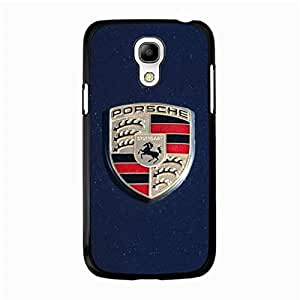 Samsung Galaxy S4 Mini Cover,Luxury Brand Logo Cover Shell Porsche Logo Phone Case Glamorous Stylish Porsche Mark Pattern Cover