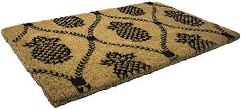 Entryways 9103W Pineapple Hand-Stenciled, All-Natural Coconut Fiber Coir Doormat 22 X 35 x .75