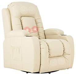 Living Room Mecor Massage Recliner Chair PU Leather Rocker with Heat 360 Degree Swivel Single Sofa Seat Ergonomic Lounge with Cup…
