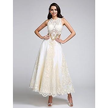 kekafu Una línea joya cuello tobillo Longitud satinado encaje vestido de novia con apliques de puntillas